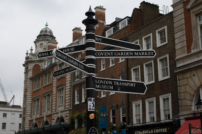 A typical street sign poll in London