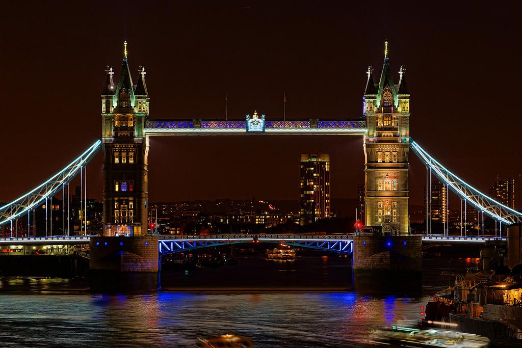 Tower Bridge at night, as seen from London Bridge