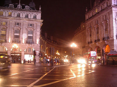Street leading away from Piccadilly Circus.