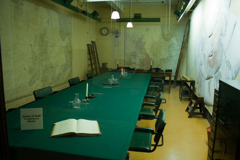 This was the Cabinet Meeting room that decided Britain's response to Nazi Germany. Notice that the walls are covered with world maps.