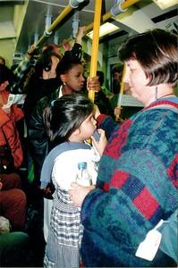 Lan and Gill London tube London England - Jun 96