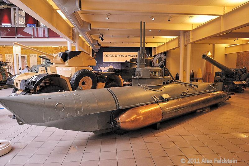 Biber German one-man submarine<br /> Imperial War Museum