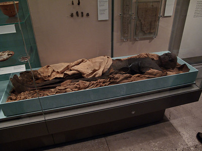 "Egyptian Mummy unwrapped. Others you see in this photo set are still wrapped, as thesedays they use CAT scans etc rather than unwrapping to ""look"" inside."