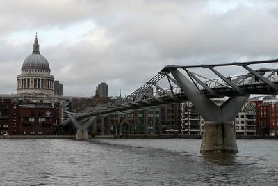 Millenium Bridge and St  Paul's Cathedral