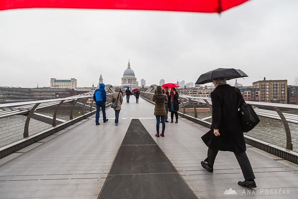 London under a red umbrella