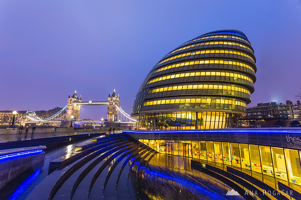 London City Hall and Tower Bridge at the blue hour
