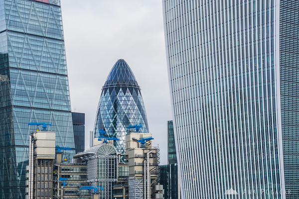 The Gherkin or 30 St Mary Axe from the Monument to the Great Fire of London