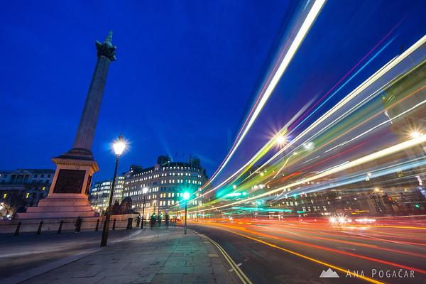 Trafalgar Square in the blue hour