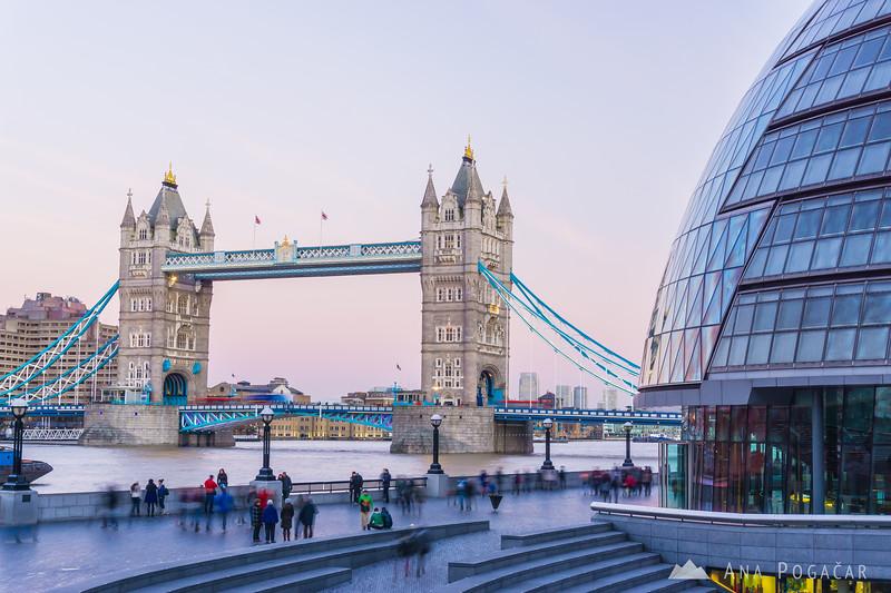 Tower Bridge and City Hall at dusk