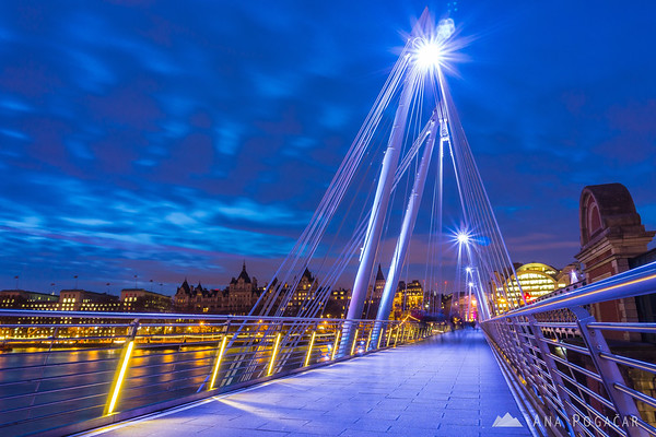 Golden Jubilee Bridges at the blue hour