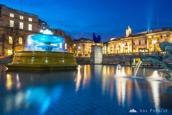 Trafalgar Square in the blue hour