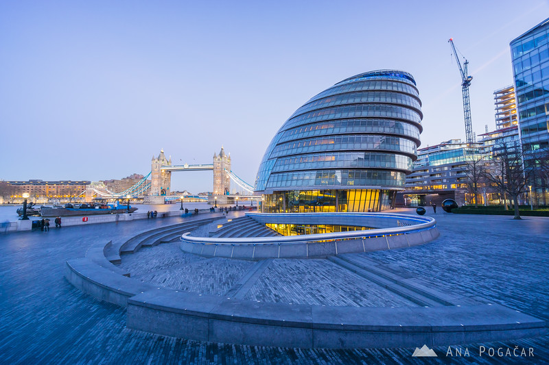 Tower Bridge and City Hall at the blue hour