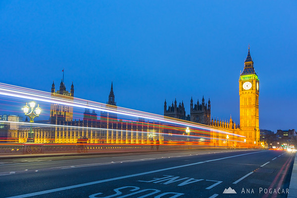 Big Ben and Westminster Bridge at dusk