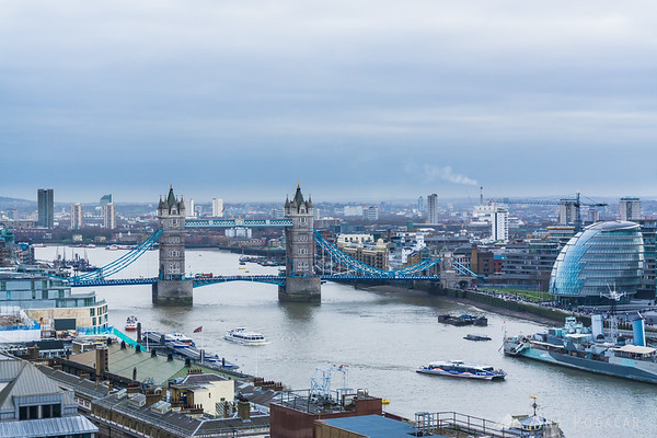 Tower Bridge from the Monument to the Great Fire of London