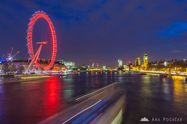 London Eye and Big Ben from Golden Jubilee Bridges at the blue hour