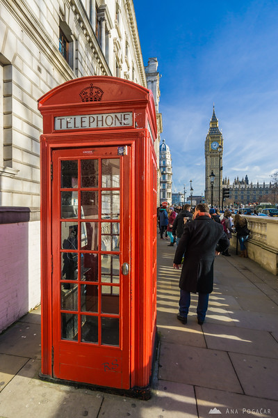 A red telephone box and Big Ben
