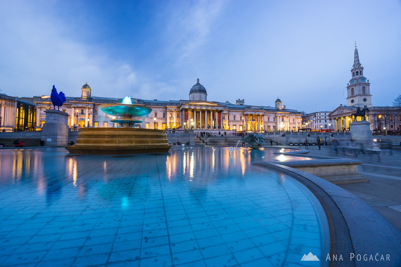 Trafalgar Square and the National Gallery in the blue hour