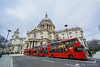 Red buses in front of St. Paul's Cathedral