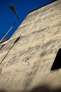Bullet ridden walls along the streets of Beirut