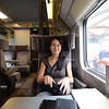 Therese on board the Eurostar