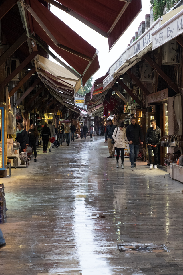 It rained every day while we were in Istanbul. Here is the market near the Blue mosque