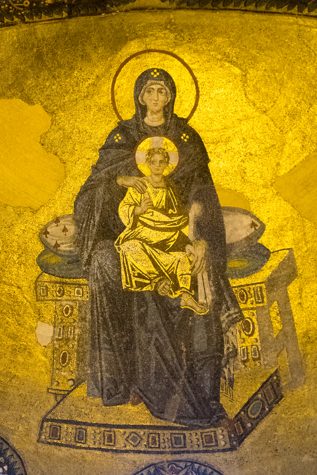 The Hagia Sophia is filled with unparalleled mosaics. This one depicting Mary and Jesus, filling one of the apses, is from the 9th century