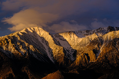 Sunrise light on the Eastern Sierras from the Alabama Hills, outside of Lone Pine, California.