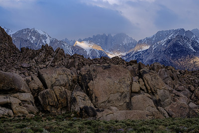 Early morning light on the Eastern Sierras from the Alabama Hills.