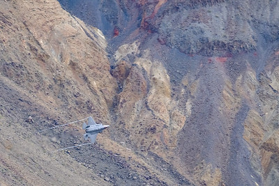 F-35 flying low through Star Wars Canyon, Death Valley NP.