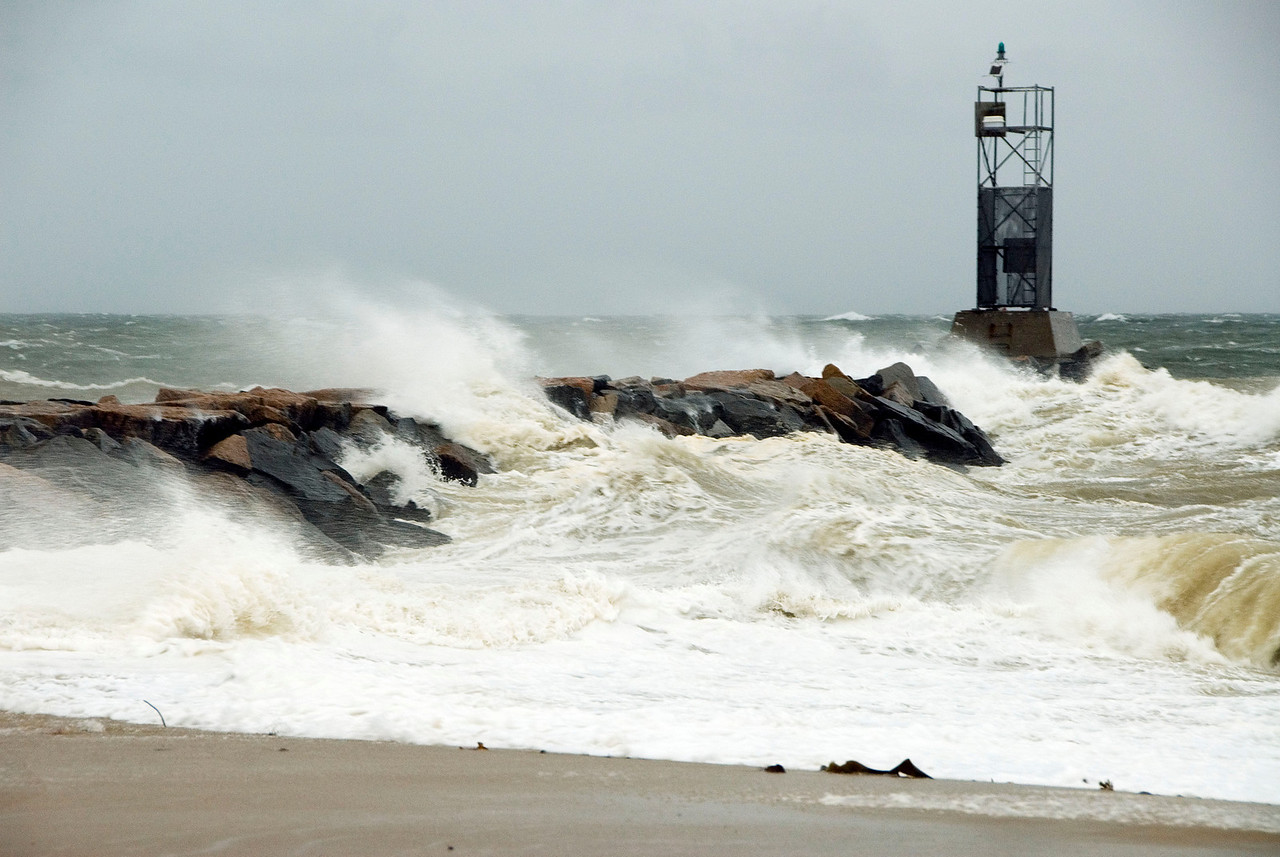 Lake Montauk jetty, buffeted by T.S. Ernesto's winds. Sept 2, 2006