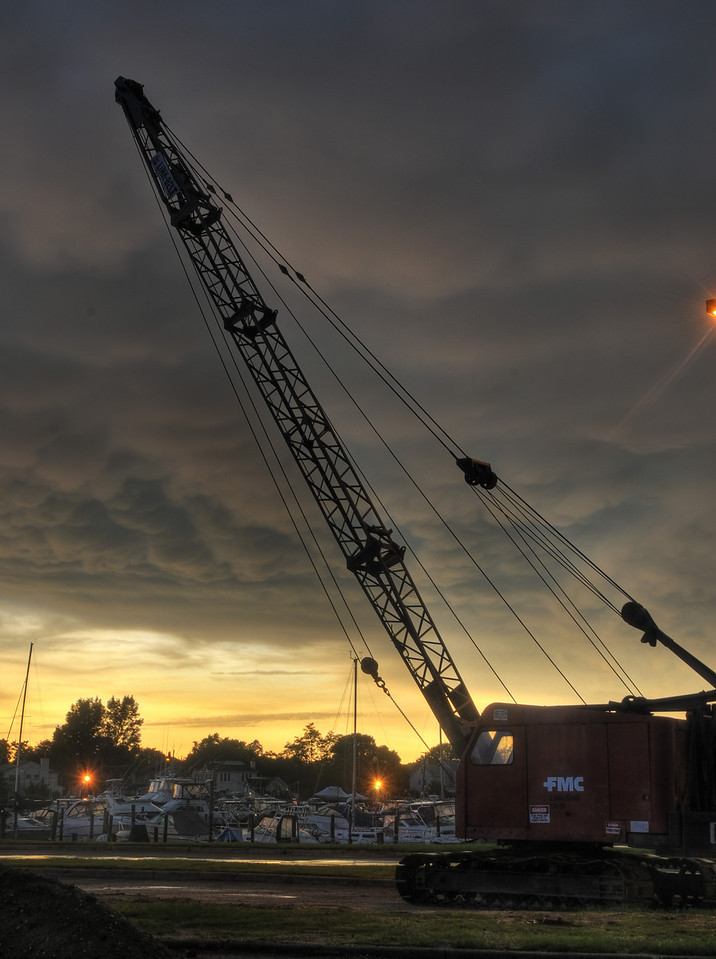 Sunset crane at Bay Shore Marina
