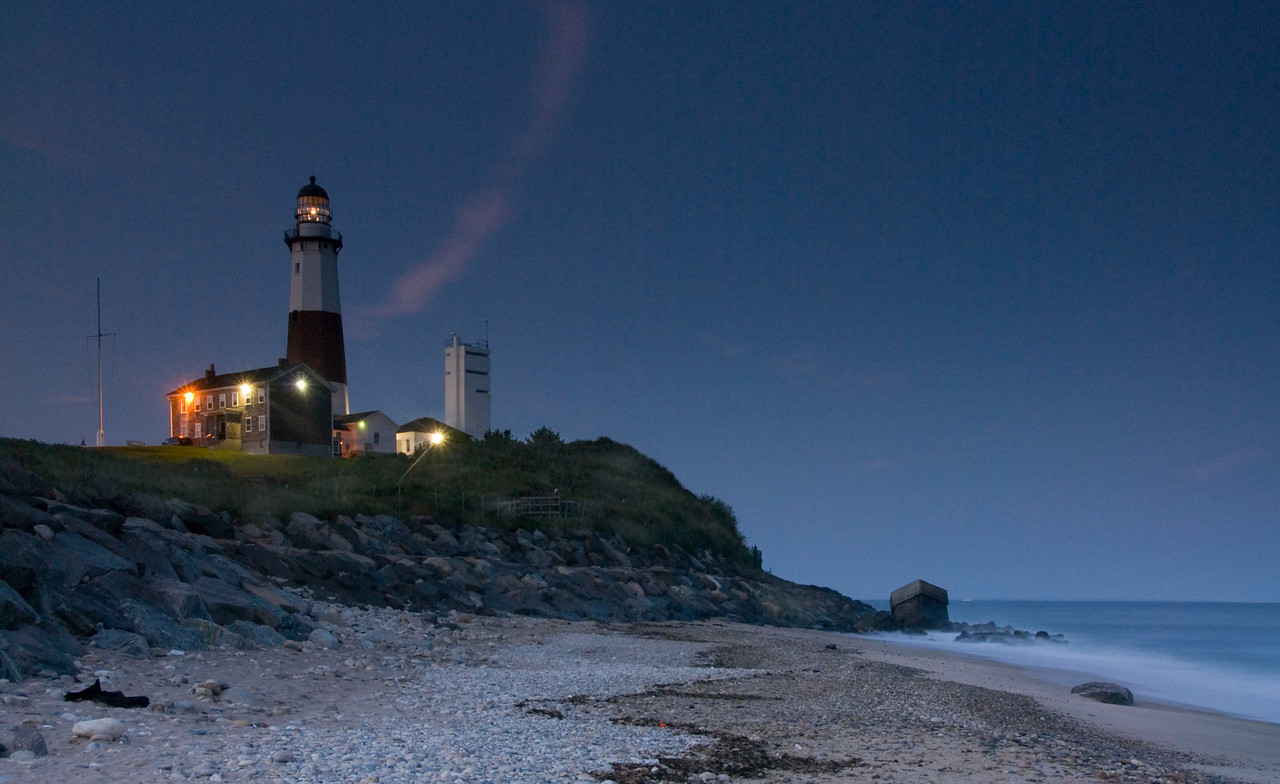 Montauk Lighthouse at dusk.