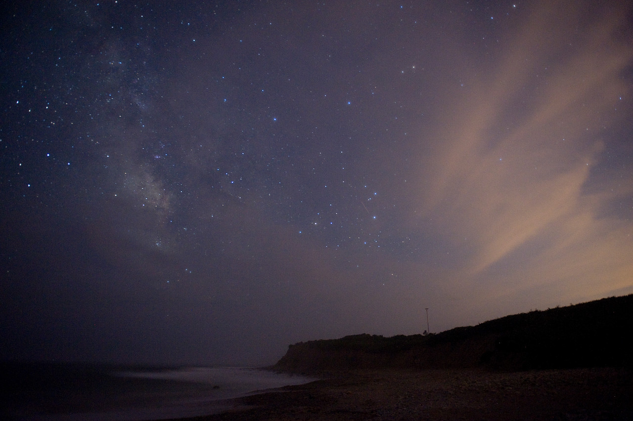 High clouds from Hurricane Irene start to obscure the Milky Way. Montauk Point, Aug 26 2011.