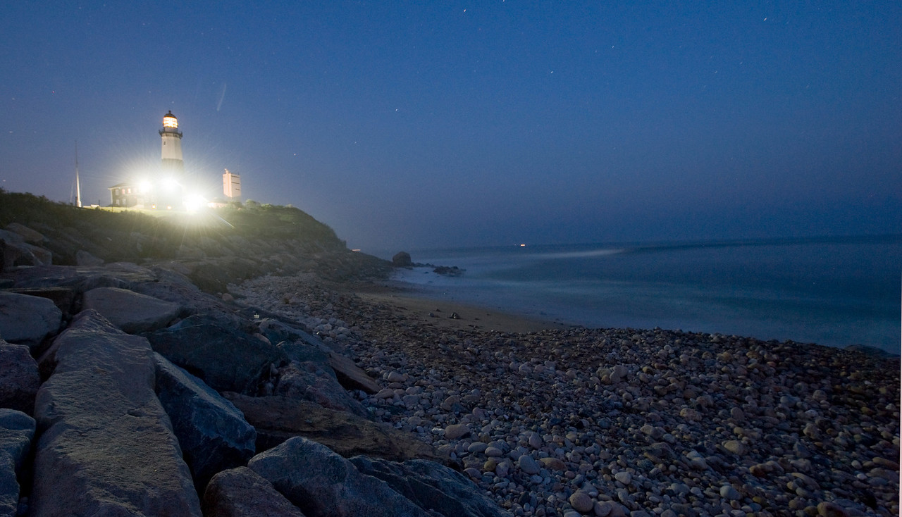 Montauk Lighthouse at night