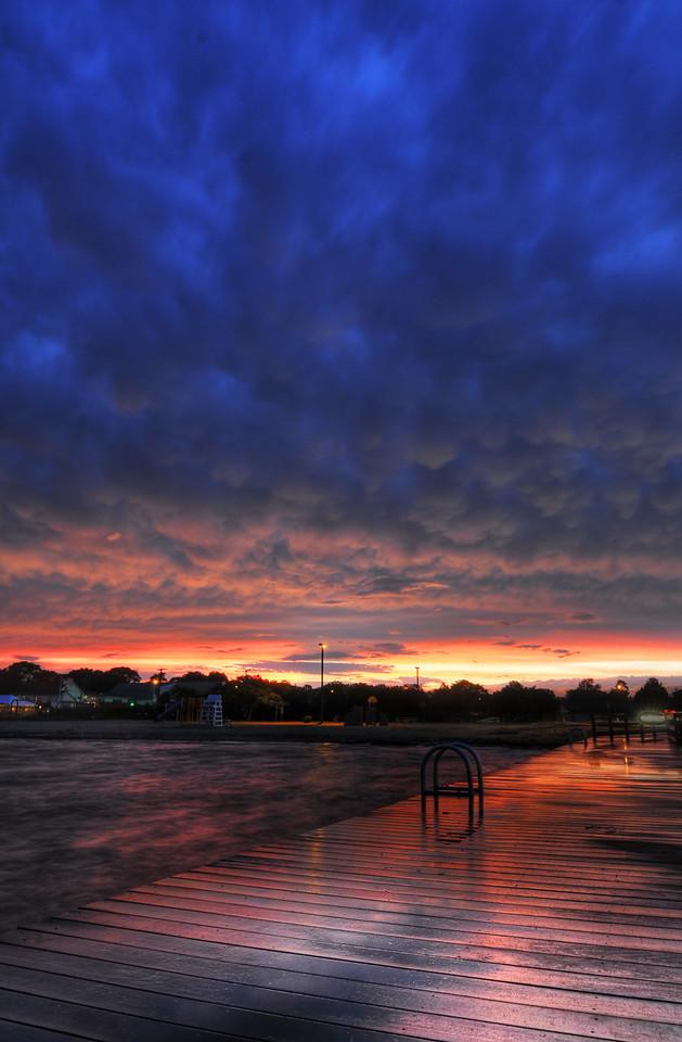 Dramatic sunset over Bay Shore Marina