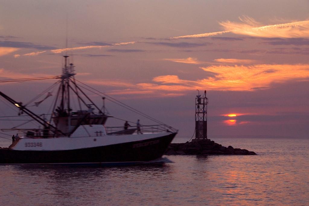 Fishing at dusk, Lake Montauk