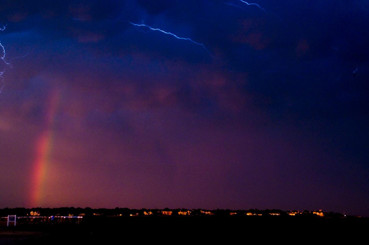 Rainbow and lightning over Bay Shore Marina