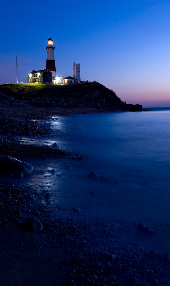 Montauk Lighthouse before sunrise.