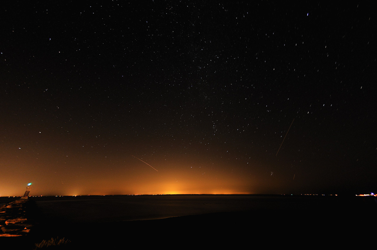 North-facing view, Gin Beach at night