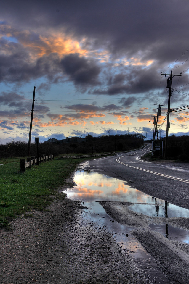 Reflected sunset, Old Montauk Highway