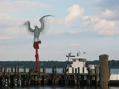 This is a 40 foot sculpture of an osprey in Greenport. It's structure incorporates 14 tons of steel from the WTC. You can read more about the artist here: http://www.providencephoenix.com/features/tji/documents/03033856.asp