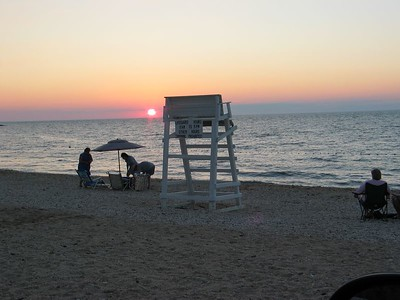 Sunset at the beach in Southold.