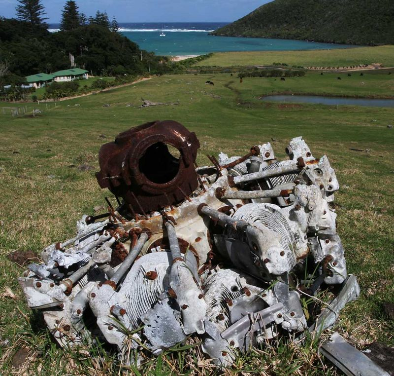 "The port engine from the RAAF Catalina which crashed on Lord Howe Island in 1948 with the loss of seven lives of the 9-man crew.<br /> <br /> ""A24-381	61163	Bu.44257/JX639	113 Air Sea Rescue Flight 1945. Served with 115 Air Sea Rescue Flight 08/09/45. Positioned at Hobart 10-17/03/47 on Air Seas Rescue standby for a Liberator flight over the Antarctic. Crashed Lord Howe Island 28/09/48. Crew; FLT LT W.D. Keller, FLT LT J.B. McCoy, FLT LT A. McKenzie, FLT LT M.D. Smith, PLT3 S.I. Piercy, WO S.H. Bacon, WO D.E. Salis.""  Ref courtesy  <a href=""http://www.adf-serials.com"">http://www.adf-serials.com</a><br /> <br /> Old Settlement Beach is in the background. A memorial is situated in a glade near the creek near the trees on the left. Another is placed on the ridge above the crash site where the aircraft struck the ground while turning crosswind to land on the lagoon in the early evening."