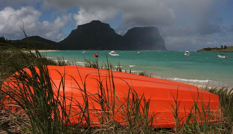 """Waiting out the winter. Lord Howe Island Lagoon will be very active in the summer. Intermediate Hill and Mts. Lidgebird and Gower  behind. """"Merit"""" award Northside Creative Photography Club 5.4.06."""