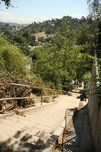 Stairs in Silverlake. August 27, 2011. Posted this for Klaar and Tom. Documented is the notorious location used for a portion of the Three Stooges short An Ache in Every Stake (1941). I found this elevation more impressive (and less altered since the film production) than a similar location featured in The Music Box (1932) which is located in the same district of LA. In any case: a quality cardio workout particularly when carrying blocks of ice in oversized metal tongs.