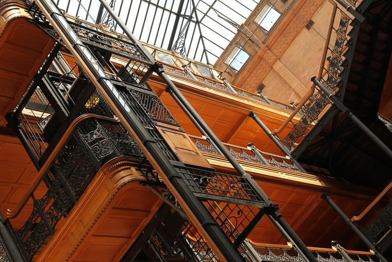 Bradbury Building atrium, detail. August 29, 2011.