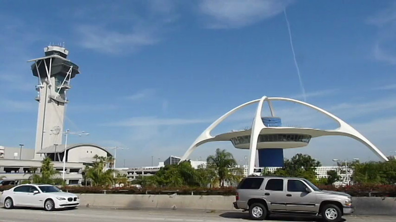 Airport Air Traffic Control Tower and Landmark in Los Angeles, California.