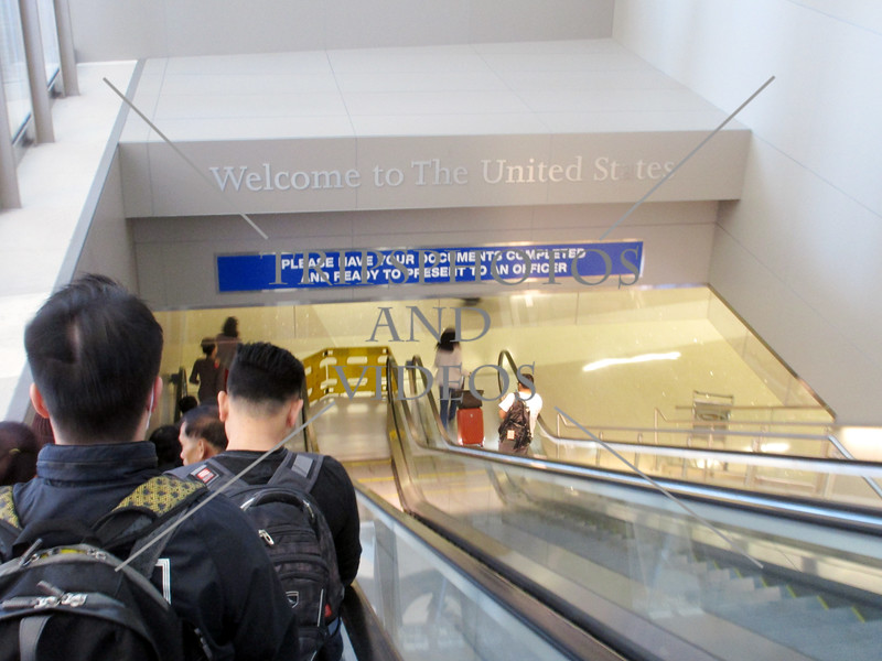 Welcome sign for arriving passengers at the international airport in Los Angeles, California.