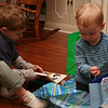 Opening gifts.