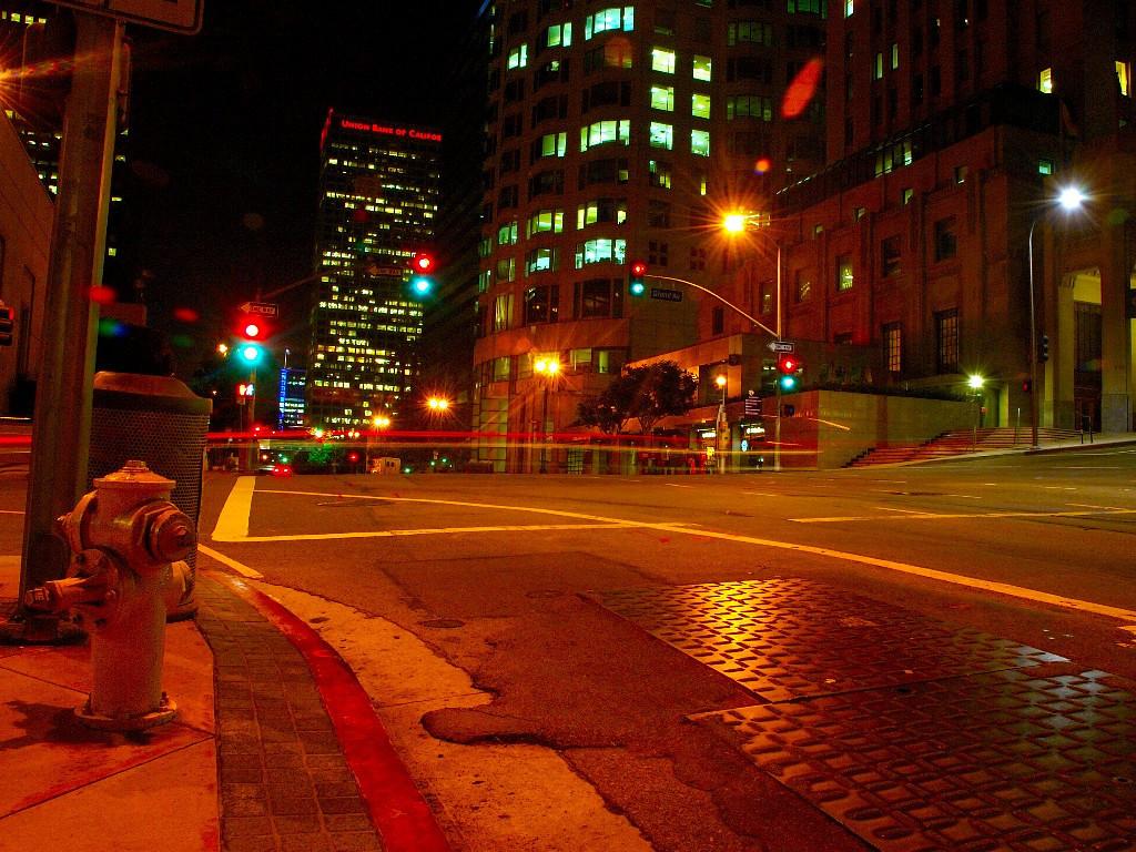 Corner of Grand Ave outside the Biltmore, Los Angeles, Sept 2005